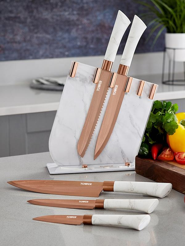 Tower Marble 5 Piece Knife Set - Rose Gold.
