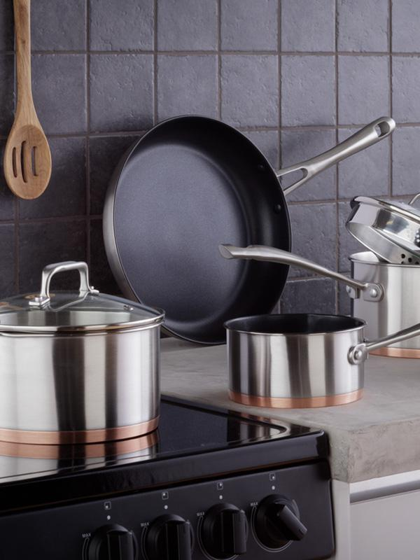 Argos Home 5 Piece Copper Based Pan Set.