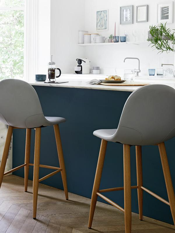 Kitchen counter and stools.