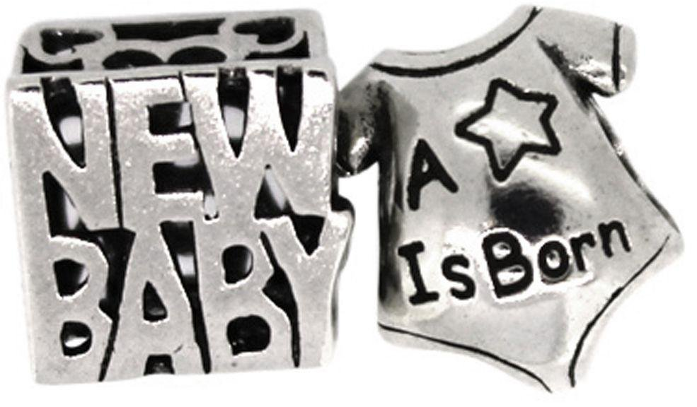 Link Up Sterling Silver New Baby and Star Charms - Set of 2.