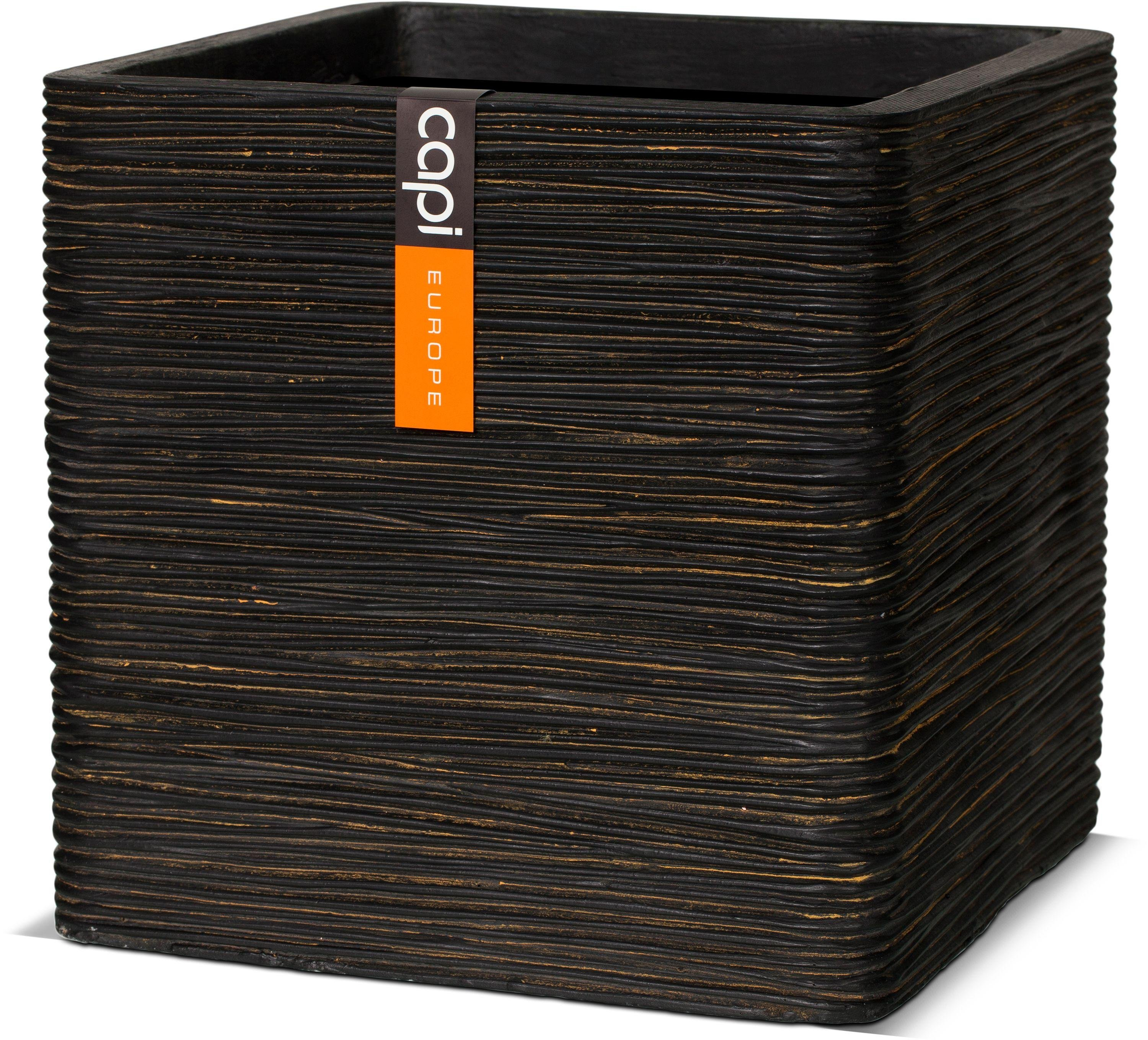 Image of Capi - Nature Brown Ribbed Square Planter - 30cm