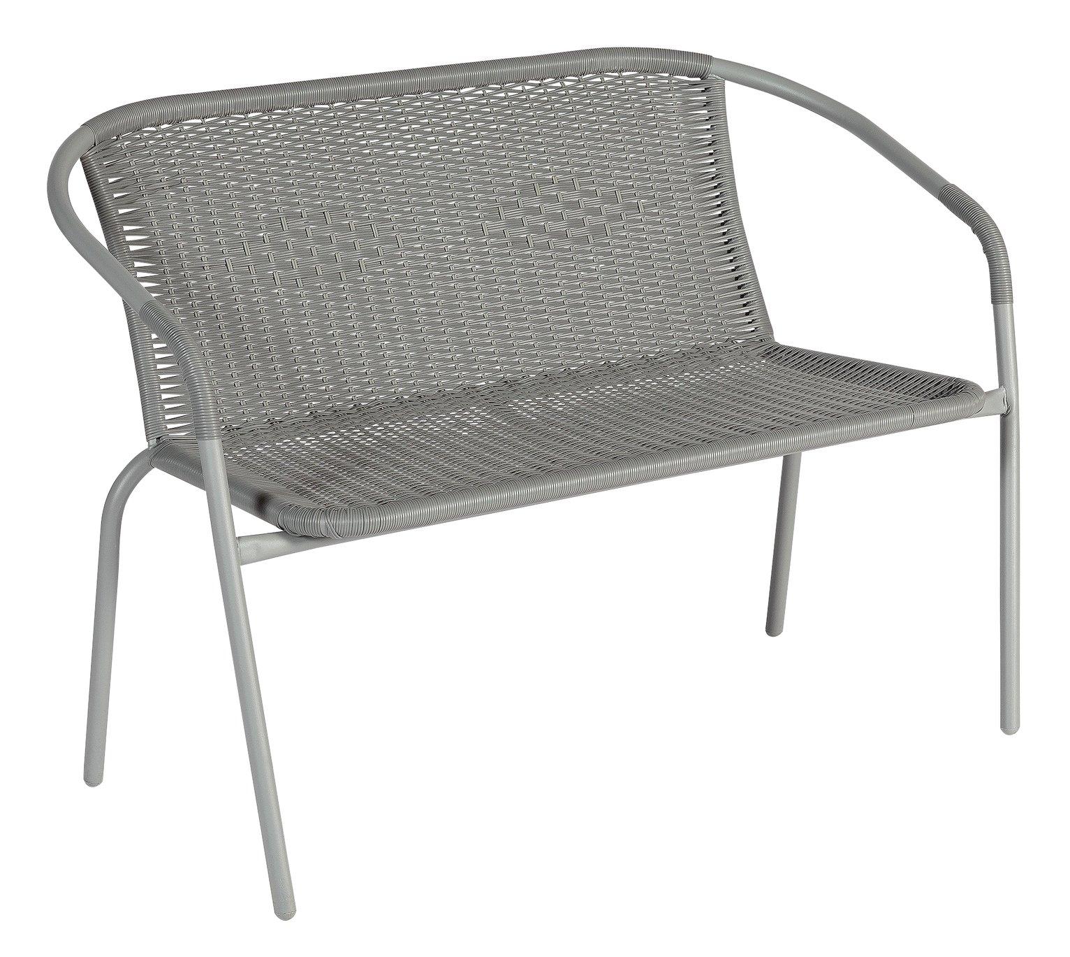 Argos Home Steel Wicker 2 Seater Garden Bench - Grey
