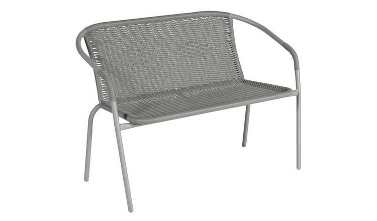 Argos Home Steel Wicker 2 Seater Garden Bench - Grey