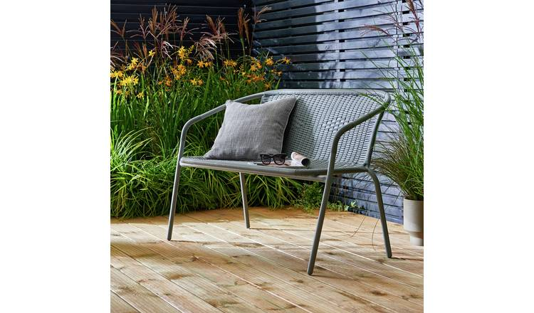 Argos Home Steel Wicker 2 Seater Garden Bench - Grey 1