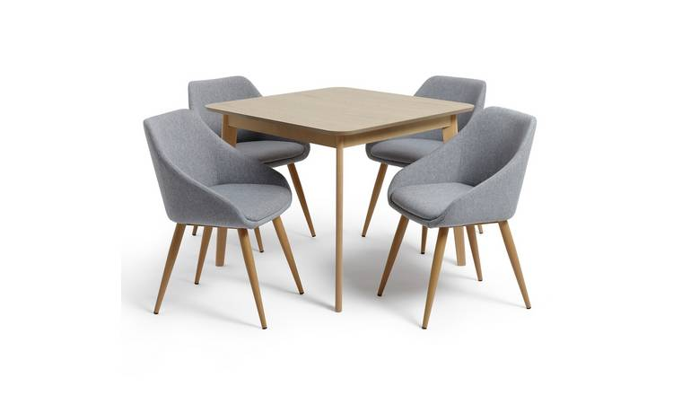 Argos Home Skandi Oak Veneer Dining Table & 4 Grey Chairs