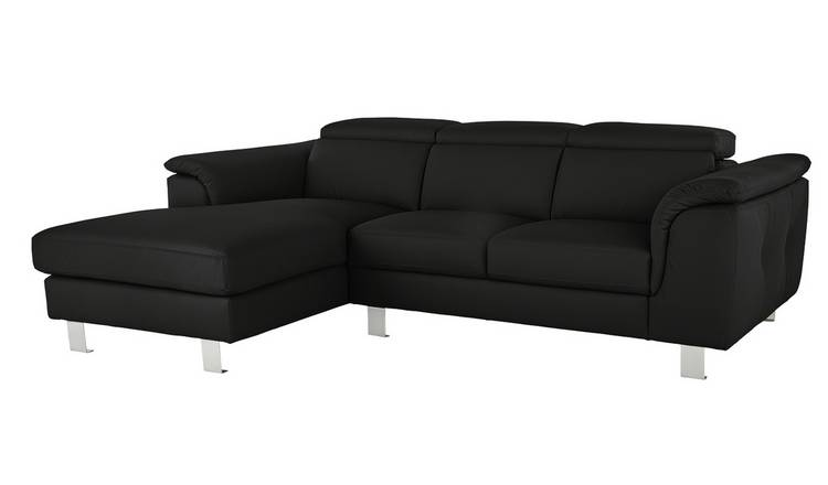 Argos Home Boutique Left Corner Faux Leather Sofa - Black