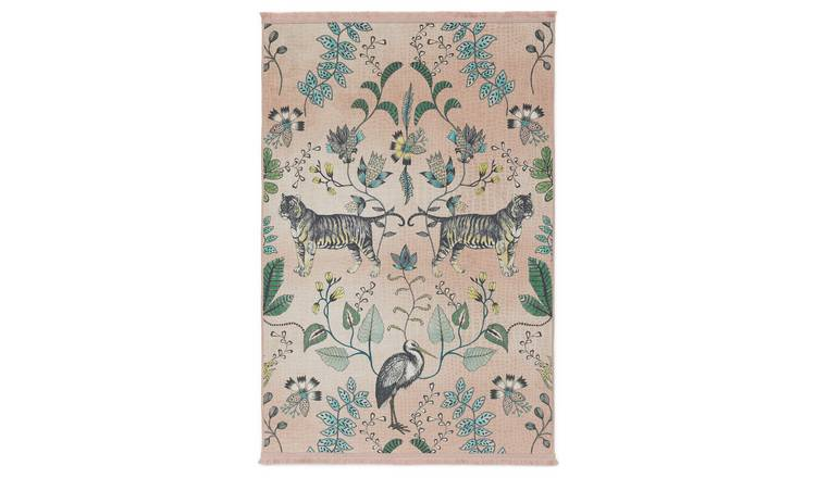 Argos Home Jungle Animal Rug - 120x170cm - Blush