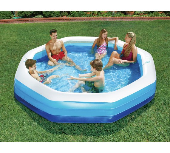 Buy summer escapes octagonal family pool 10ft 1806 for Family paddling pool