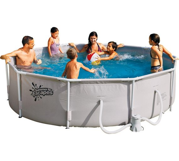 Buy Summer Escapes Round Frame White Pool - 10ft - 4,792 Litres ...
