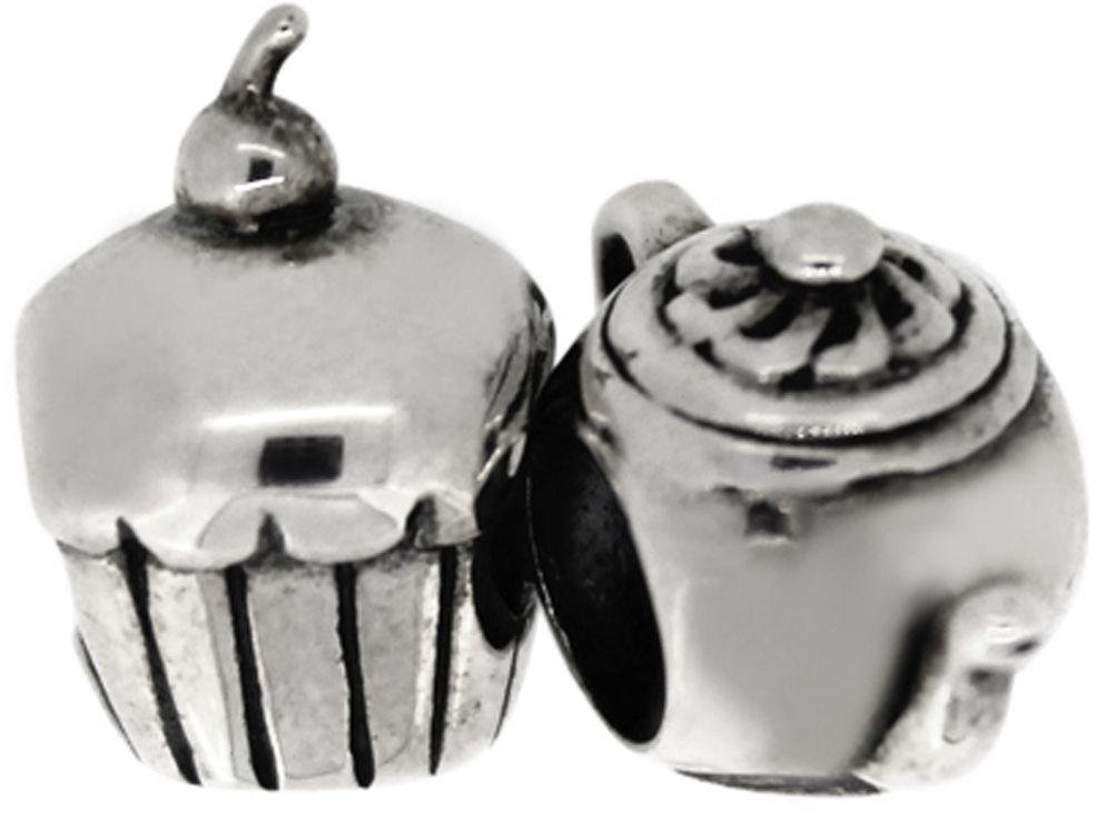 Link Up Sterling Silver Cupcake and Tea Pot Charms - 2.