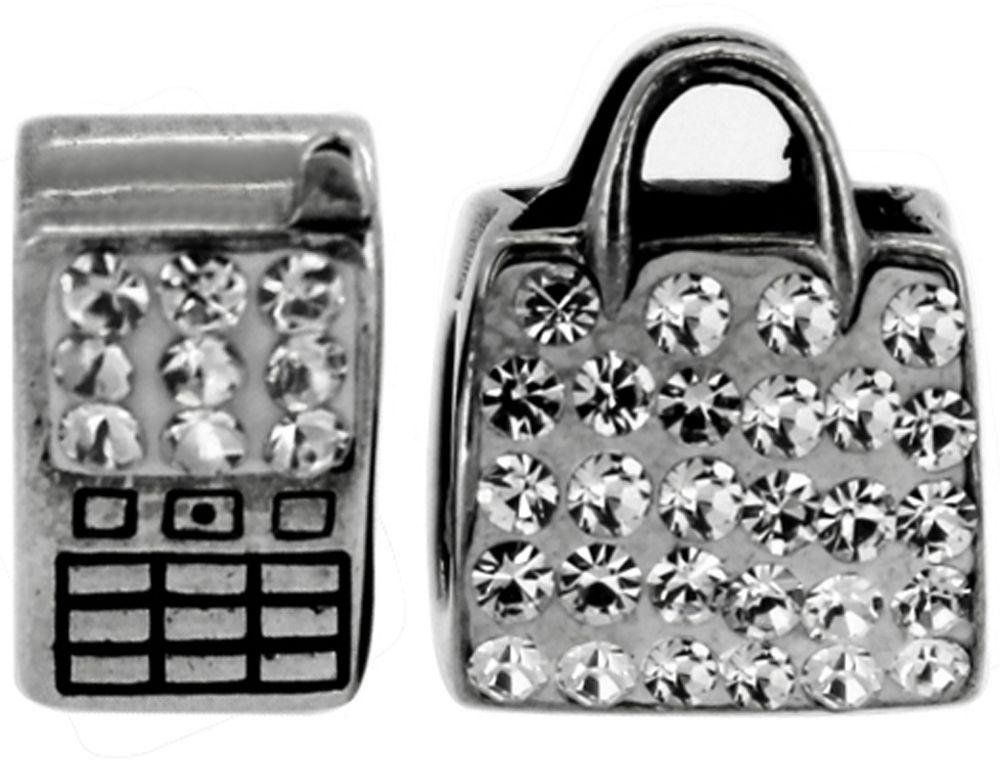 Sterling Silver Phone and Bag Crystal Charms - Set of 2.