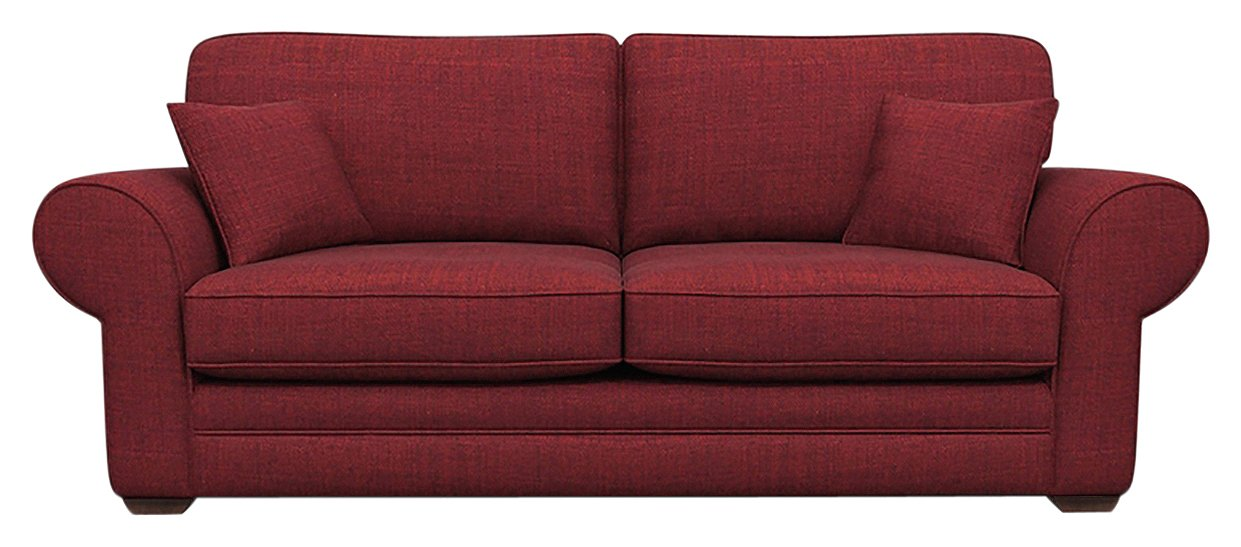 Heart of House Chedworth Large 3 Seater Fabric Sofa - Wine
