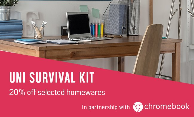 Uni survival kit. Save 20% on selected homewares.