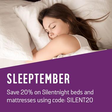Sleeptember. Save 20% on Silentnight beds and mattresses using code: SILENT20.