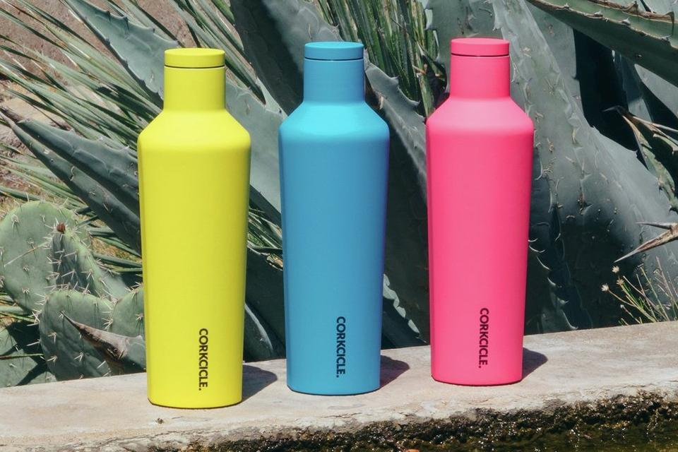Colourful water bottles.