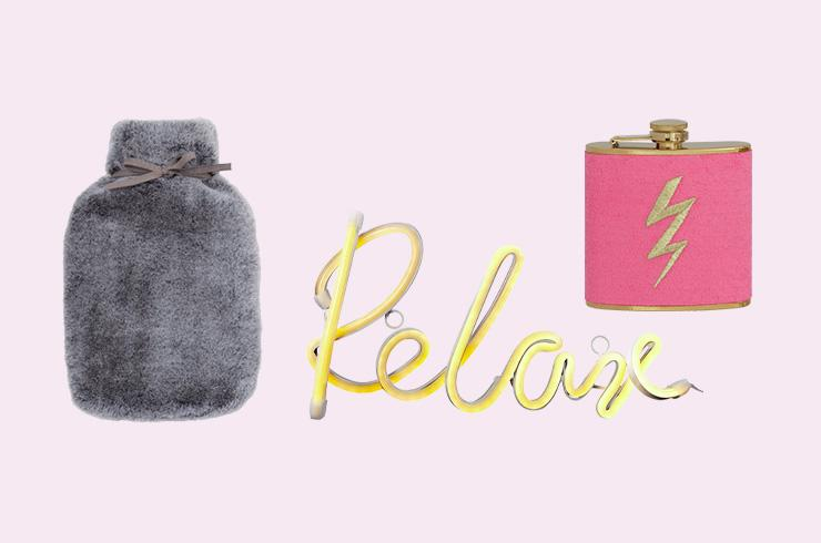 A selection of gifts on a pink background.