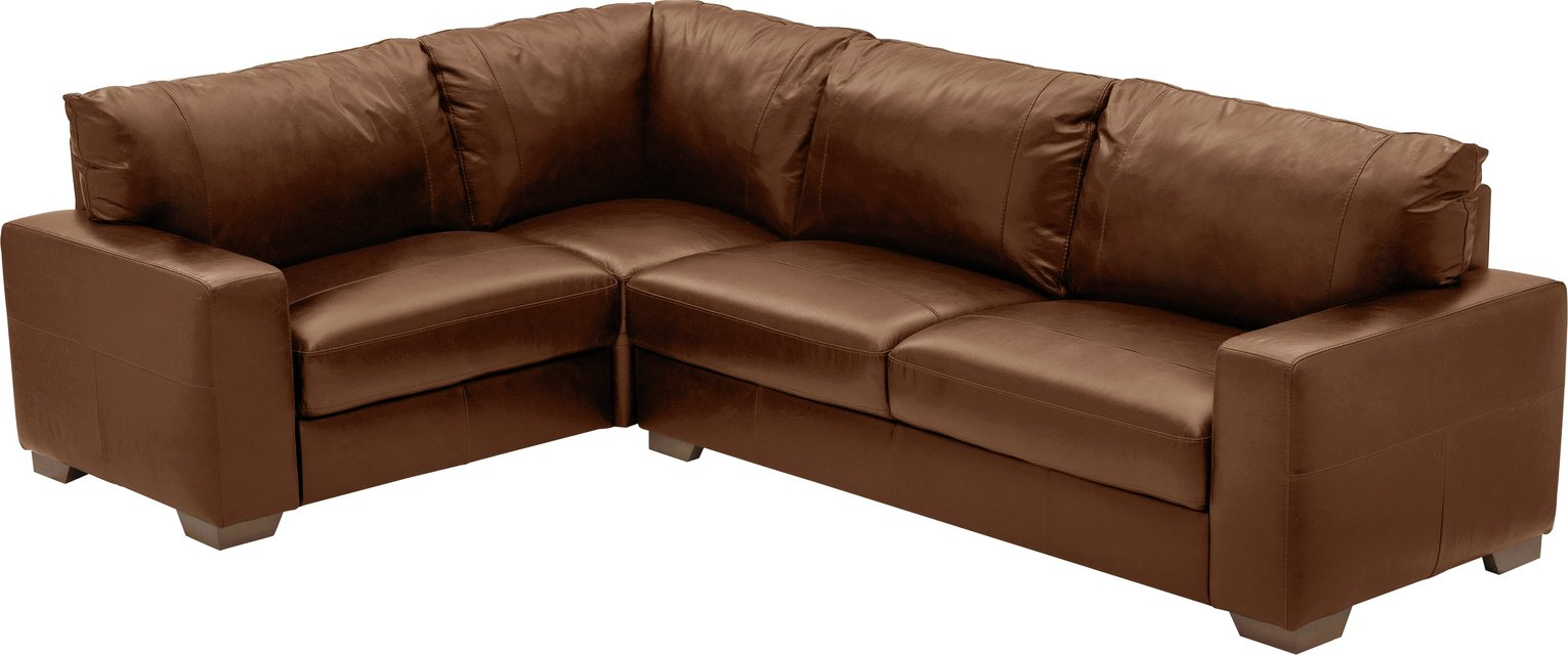 Argos Home Eton Left Corner Leather Sofa - Tan