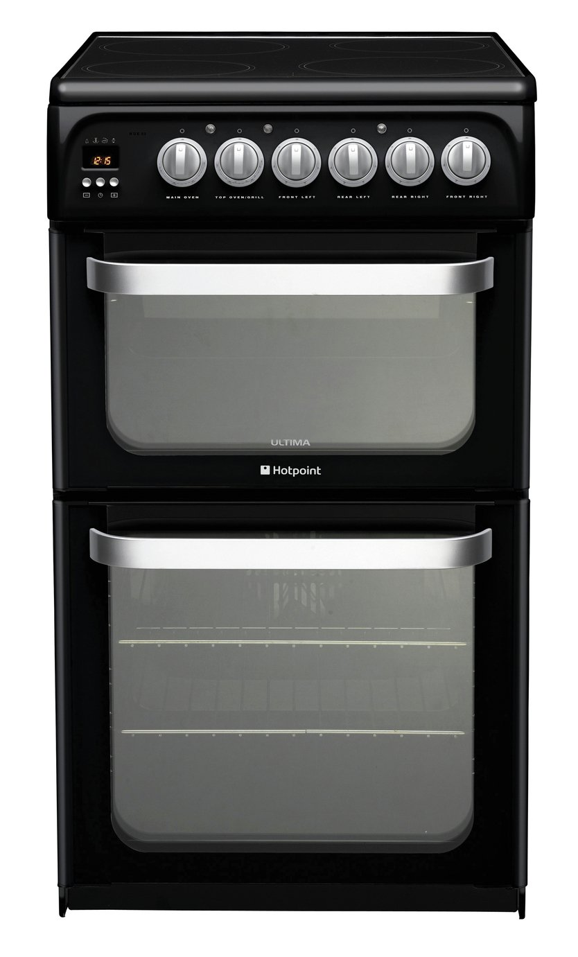 Hotpoint HUE52KS Double Electric Cooker - Black