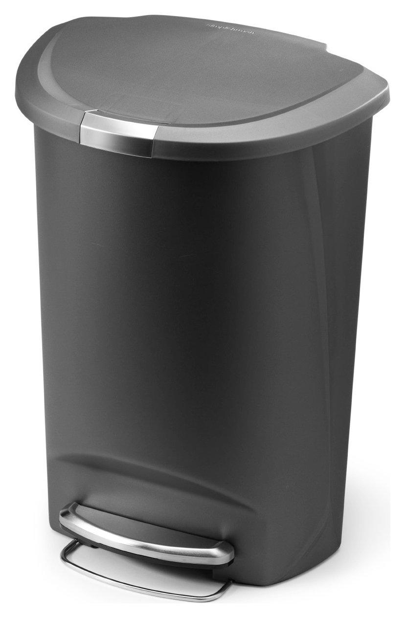 simplehuman - 50 Litre Plastic Semi Round Pedal Bin - Grey