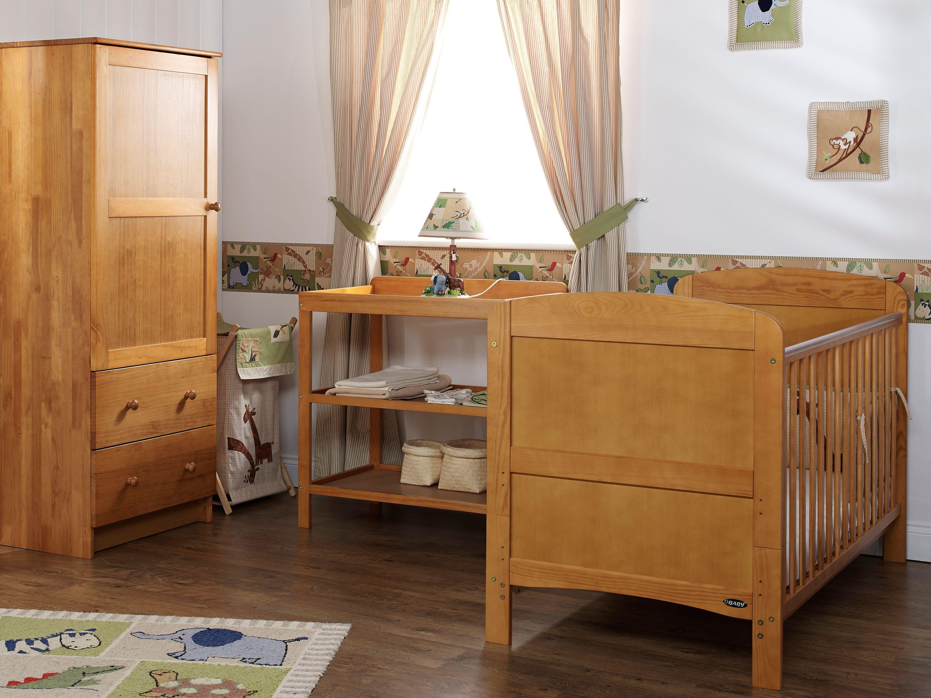 obaby grace 3 piece nursery furniture set  country pine.