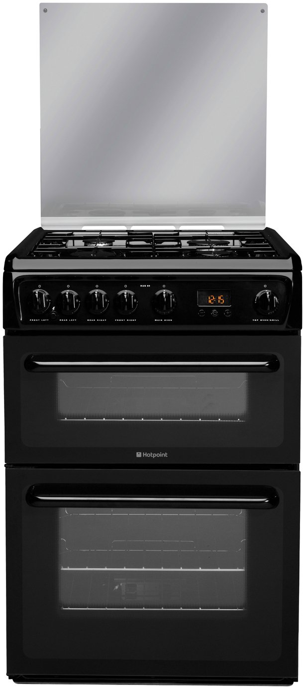 Hotpoint HAGL60K Double Gas Cooker - Black