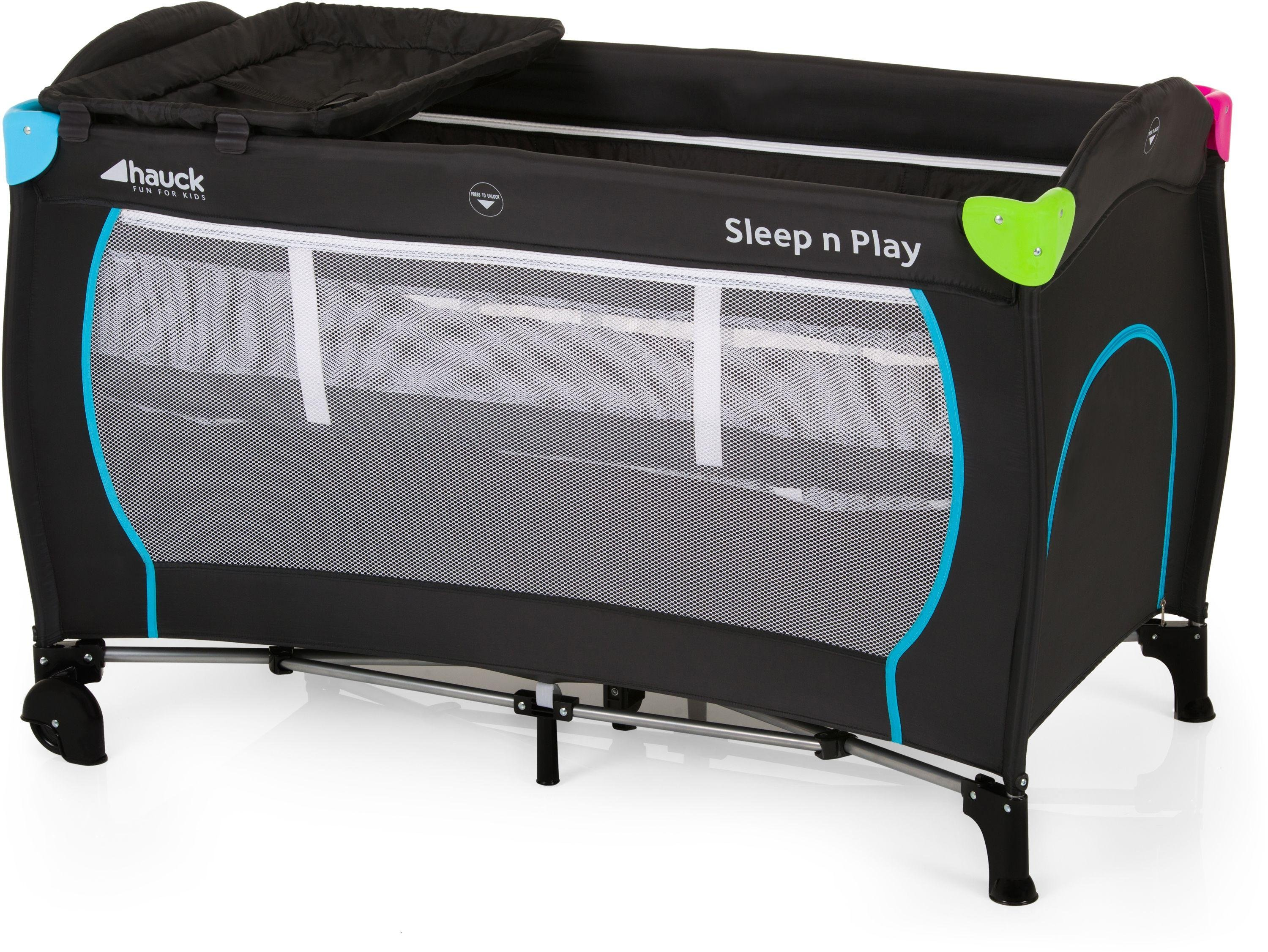 Image of Hauck Sleep'n Play Center Travel Cot - Black and Multicolour