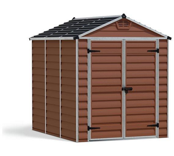 palram skylight plastic amber garden shed 6 x 8ft