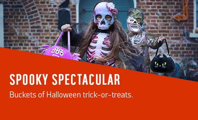 Spooky spectacular. Buckets of Halloween trick-or-treats.