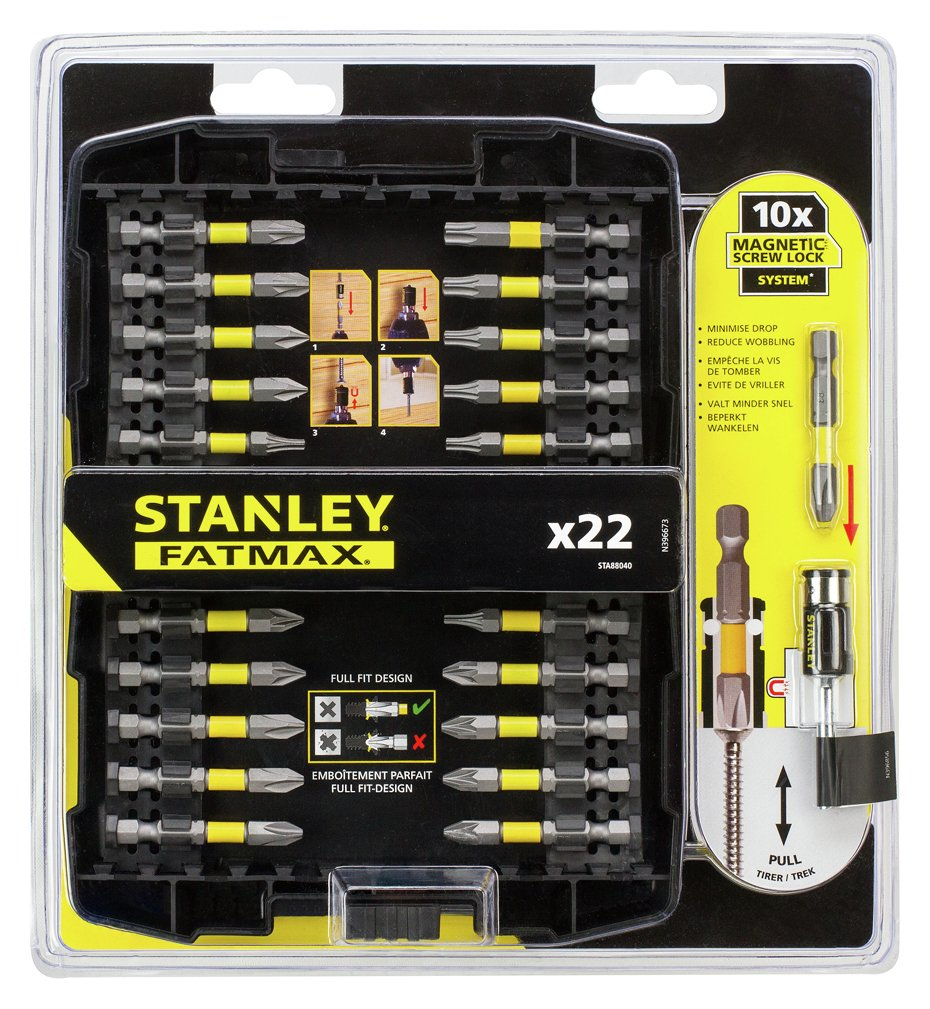 stanley fatmax 22 piece screw lock screwdriver set. Black Bedroom Furniture Sets. Home Design Ideas