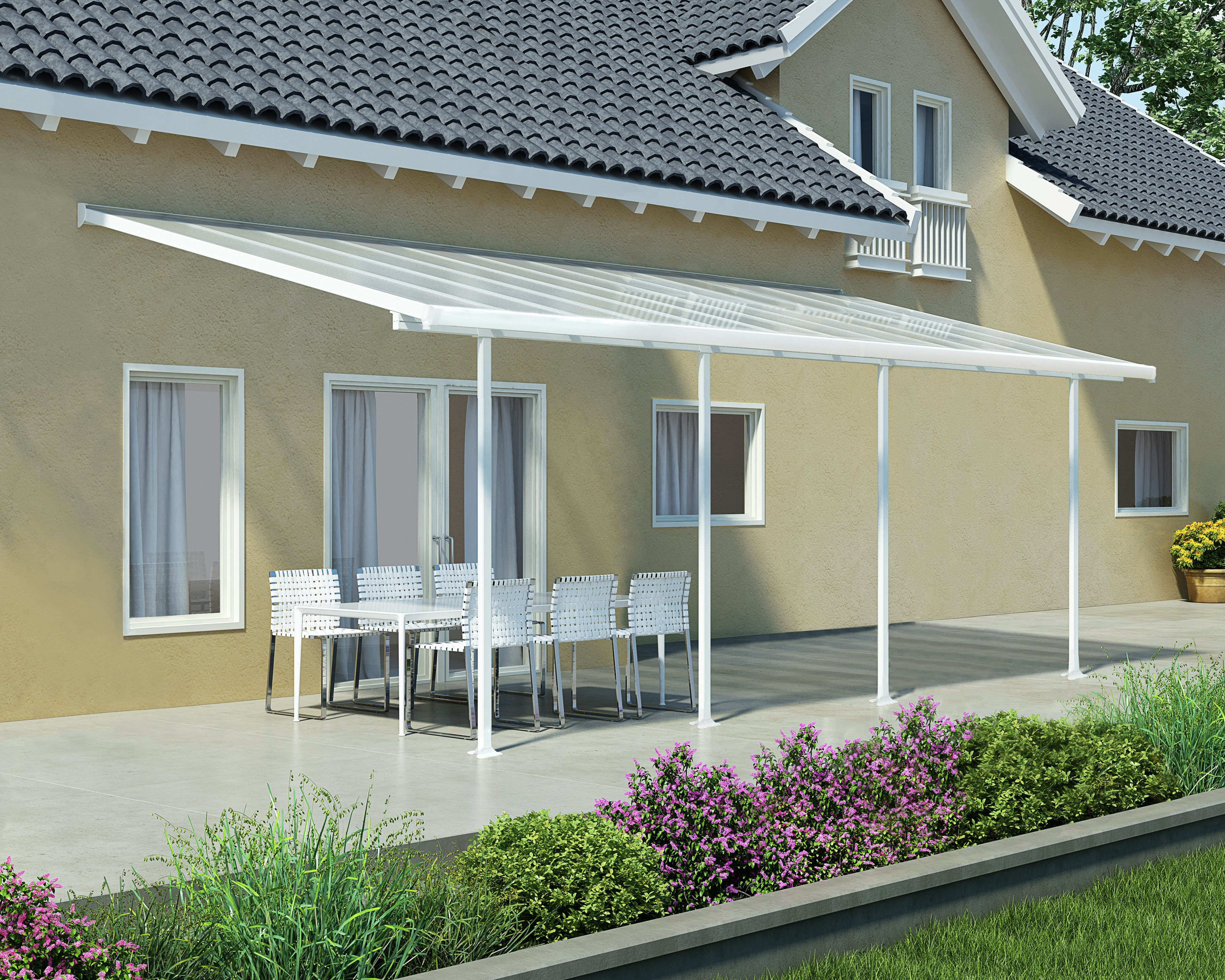 Palram Feria White/Clear Patio Cover 3 x 9.71. lowest price