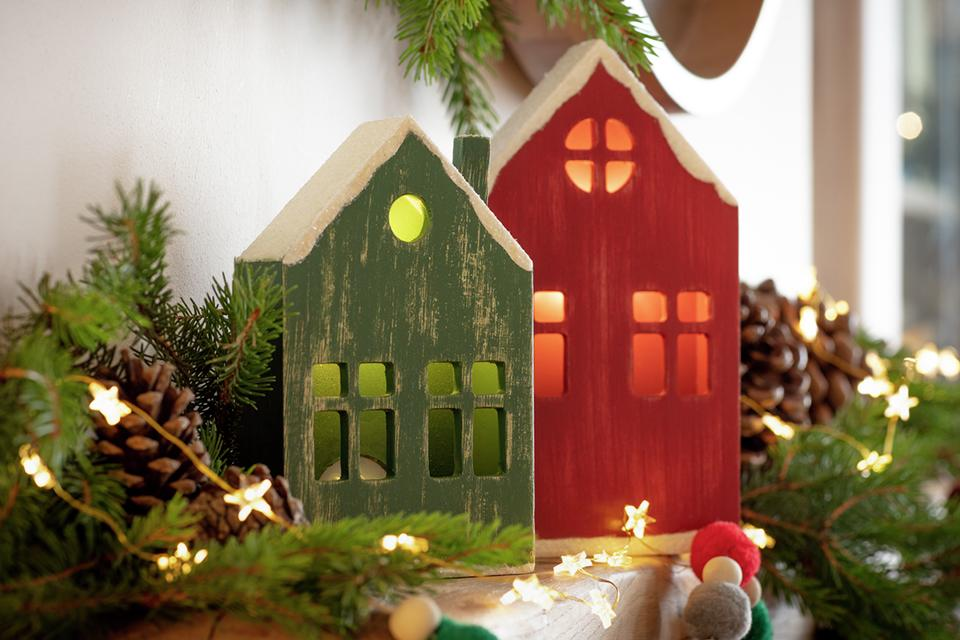 Argos Home Nordic Red Wooden Light Up House.