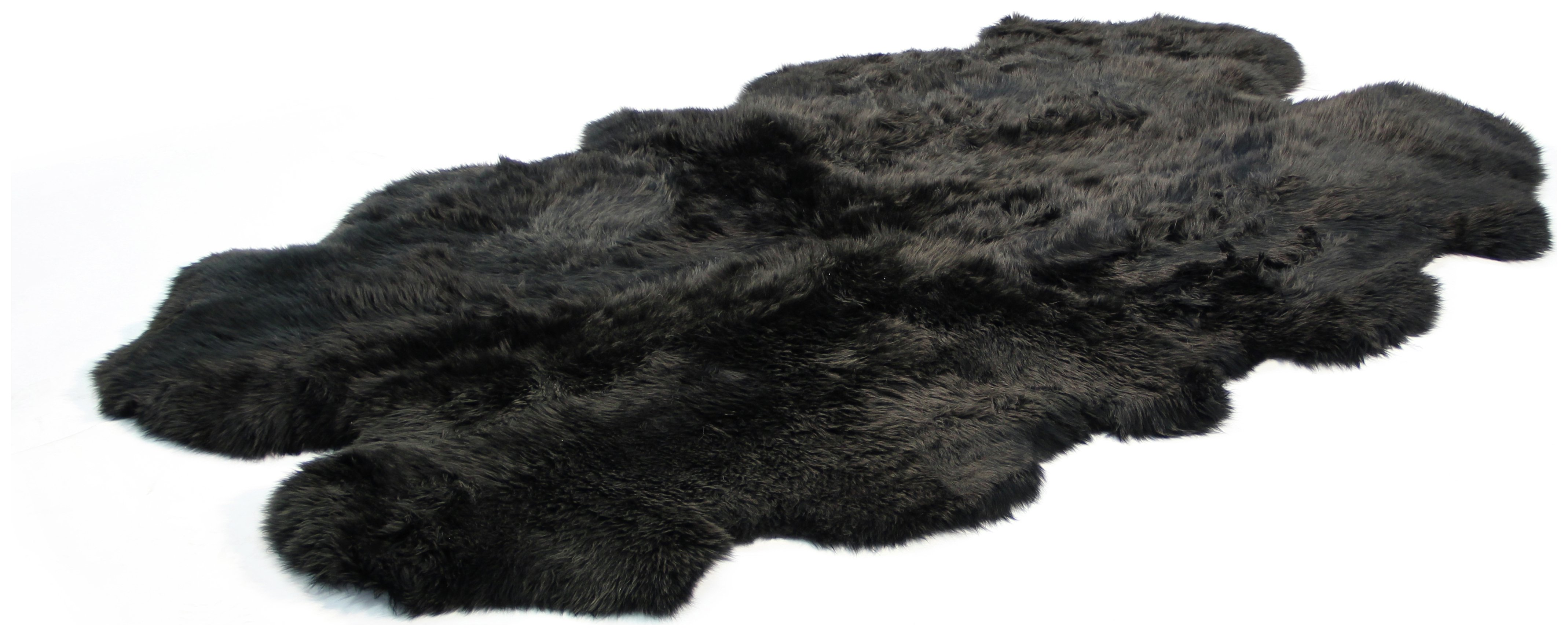 Image of Bowron Sheepskin Longwool Rug 180 x 110cm - Black.