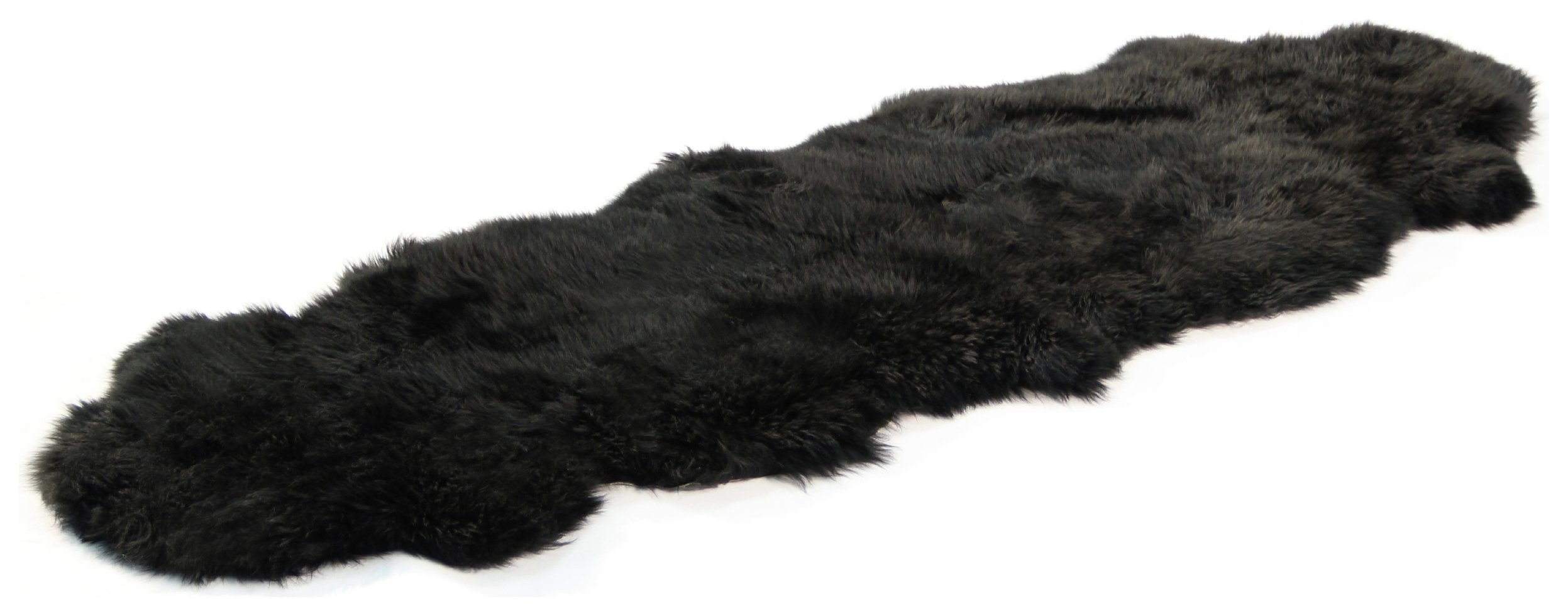Image of Bowron Sheepskin Longwool Rug 180 x 60cm - Black.