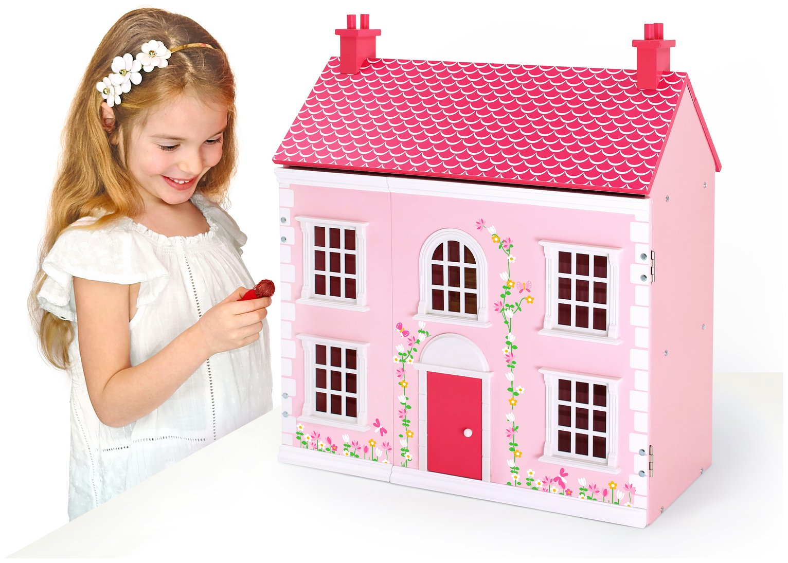 Chad Valley - Wooden 3 Storey Dolls House - Pink