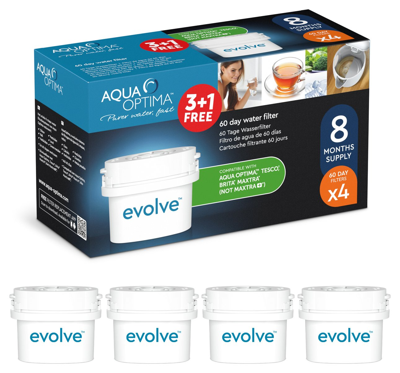 Image of Aqua Optima - Evolve 60 Day Water Filter - 4 Pack