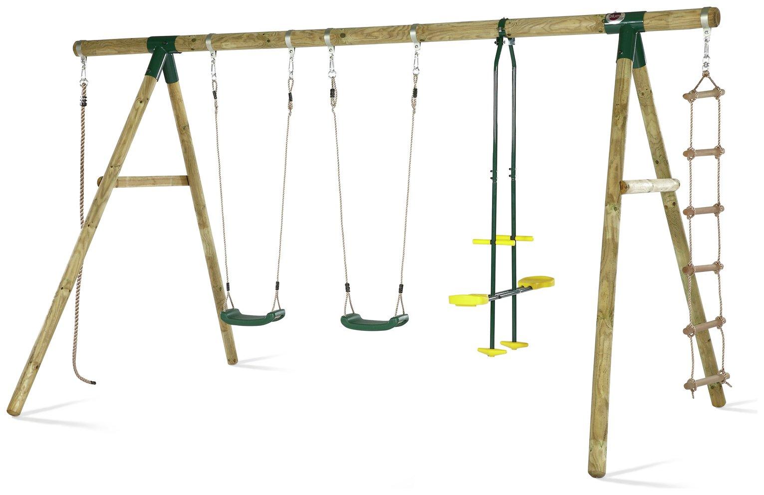 Plum Orang Utan Wooden Garden Swing Set.