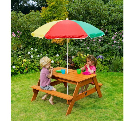 Argos Childrens Garden Table And Chairs: Buy Plum Children's Garden Picnic Table With Parasol At
