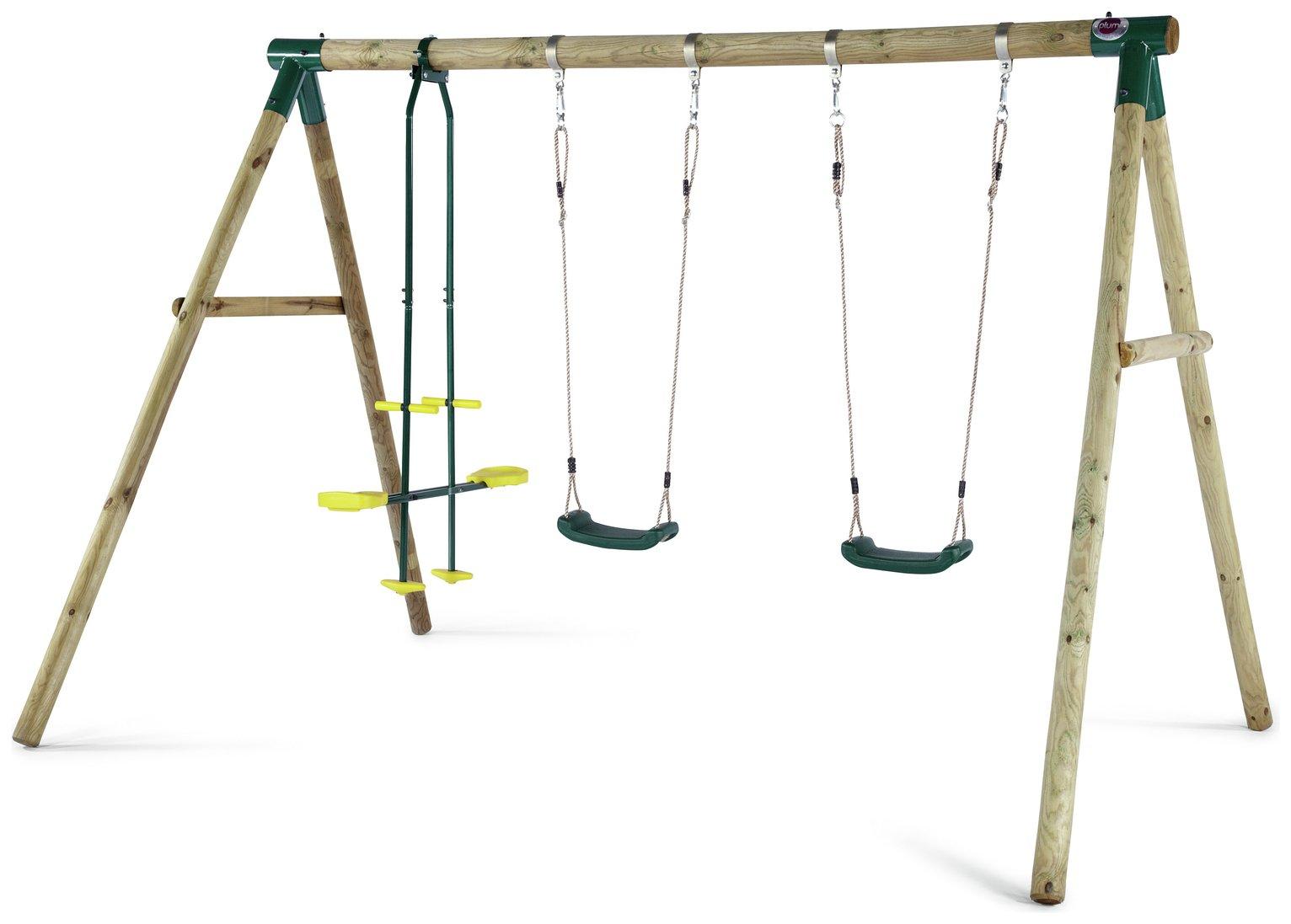 Plum Colobus Wooden Garden Swing Set.