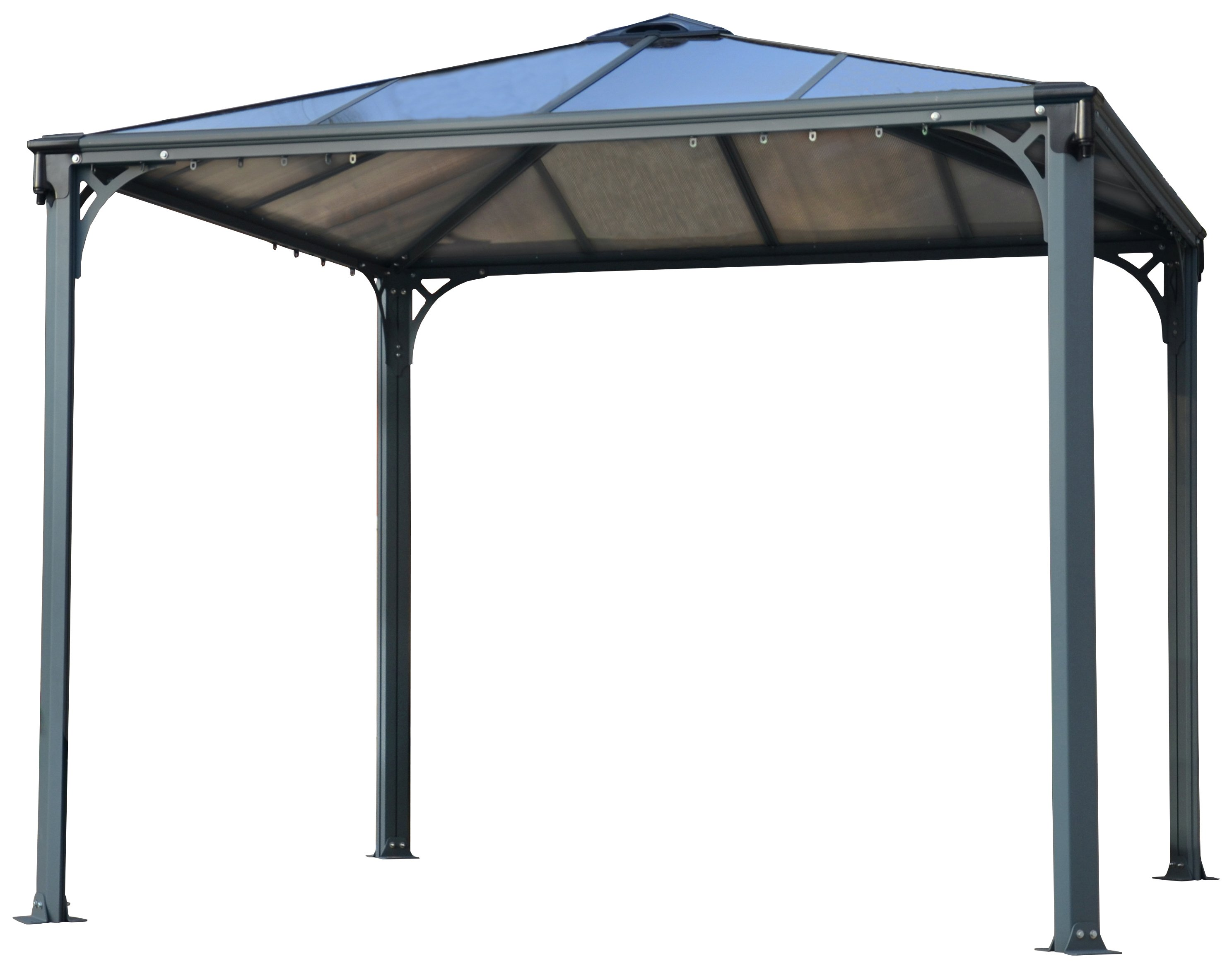 Palram Palermo 9.6x9.6ft Gazebo - Dark Grey. lowest price