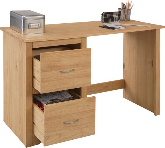 Buy HOME 2 Drawer Office Chester Desk - Pine at Argos.co.uk - Your ...