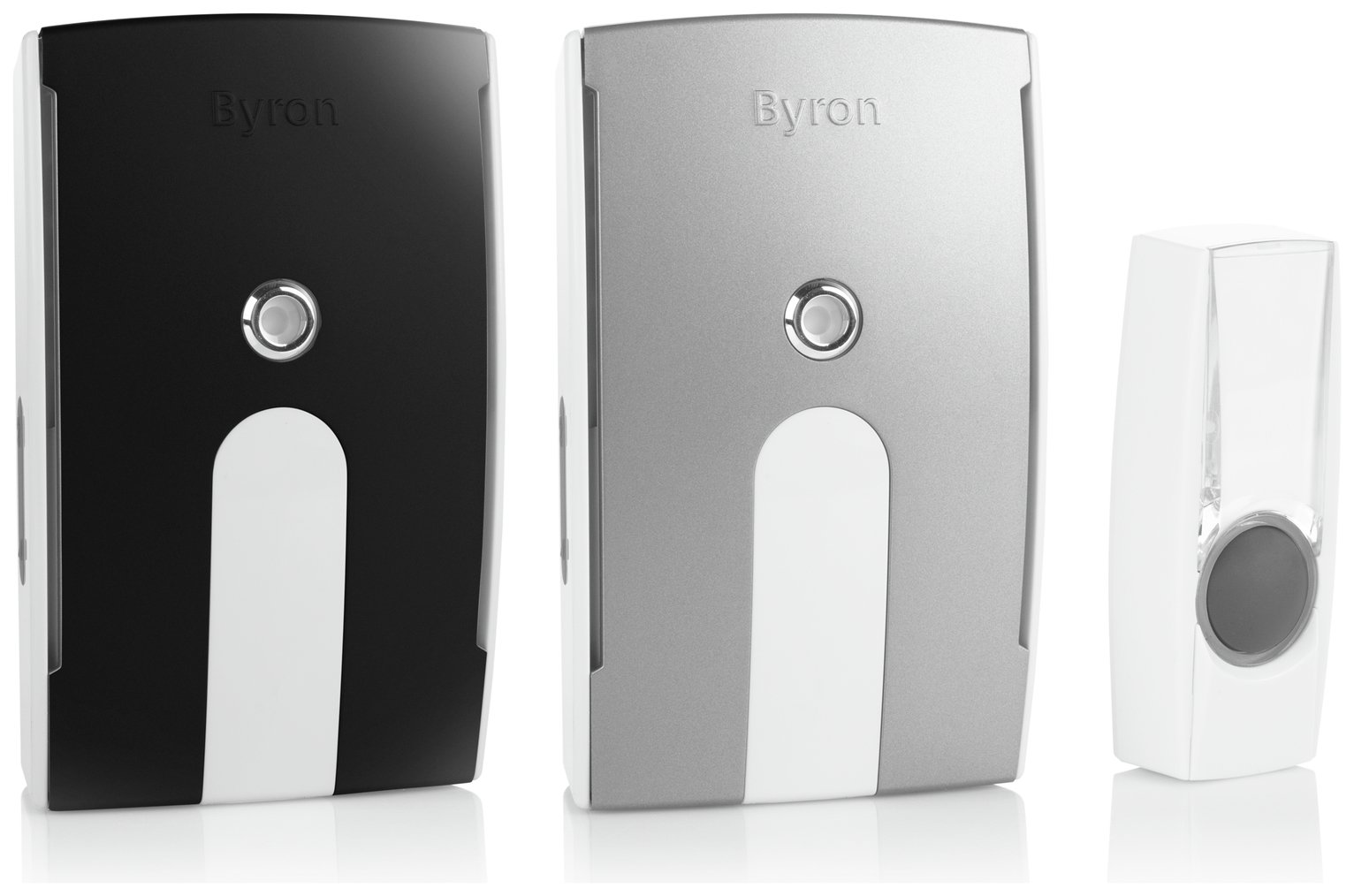Image of Byron White 125m Plug-in and Portable Twin Pack Doorbell Kit