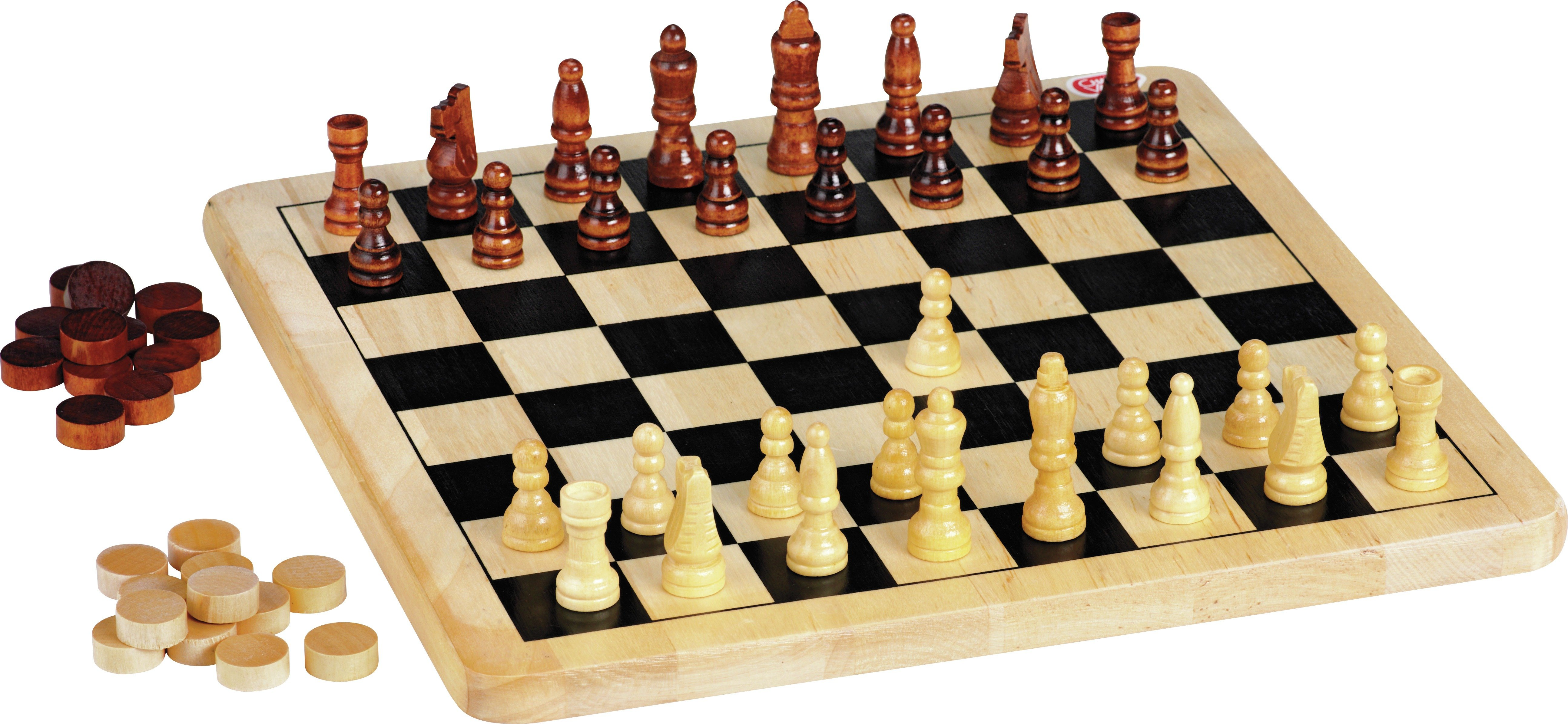 Chad Valley Wooden Chess and Draughts Board Game