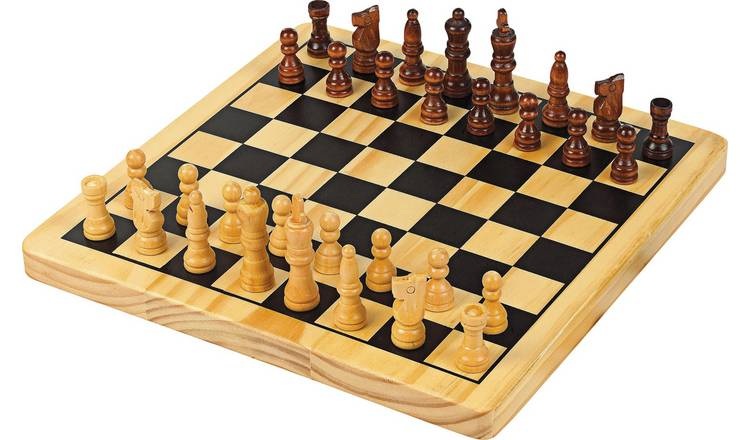 Buy Chad Valley Wooden Chess And Draughts Board Game Board Games Argos