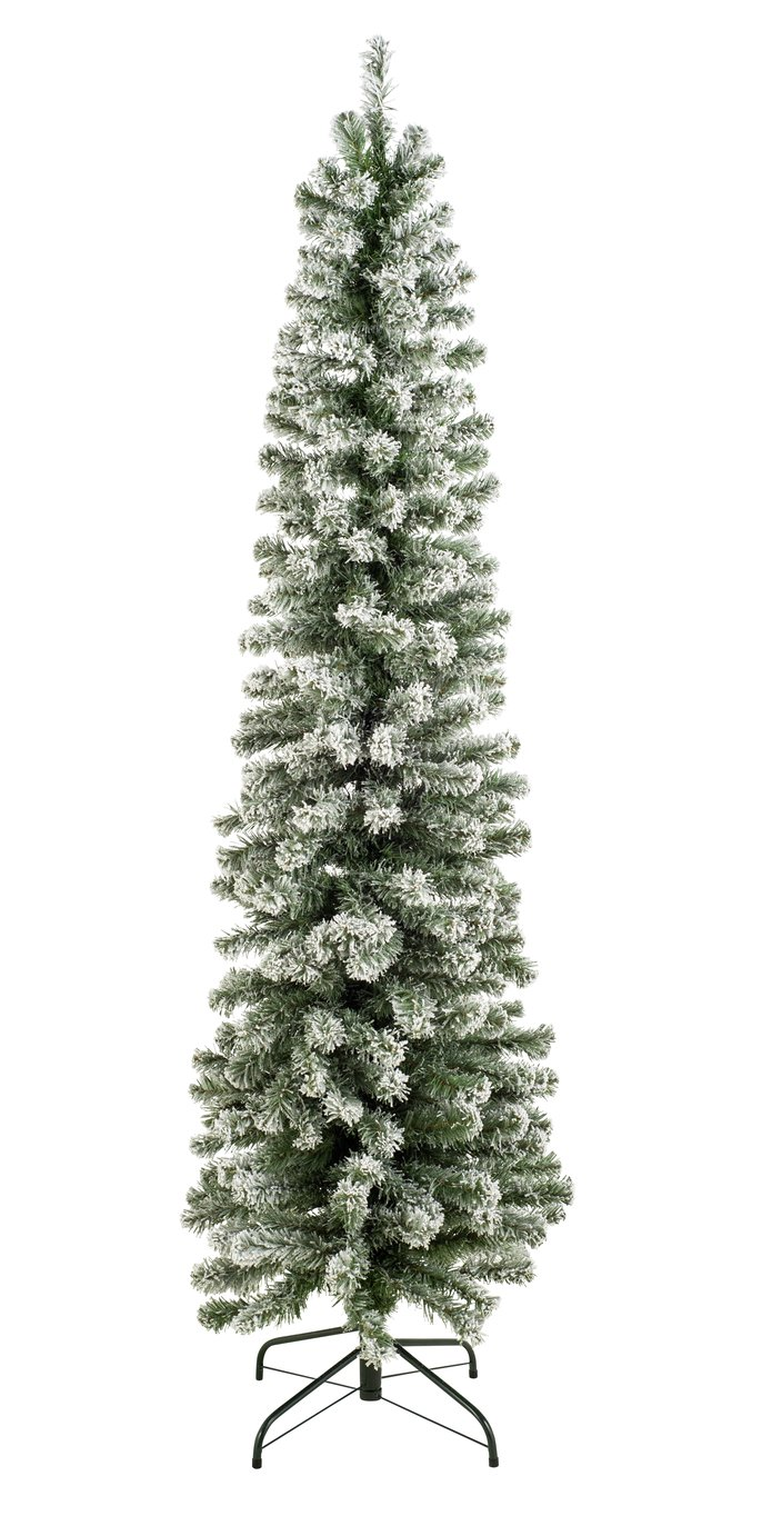 Argos Home 6ft Snow Tipped Pencil Christmas Tree - Green