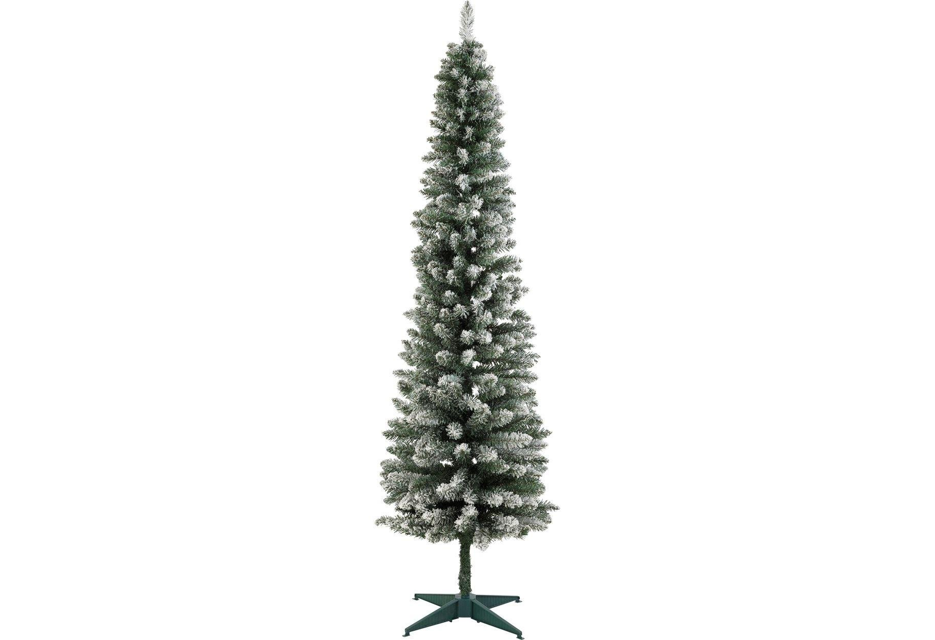 Pre Lit Snow Tipped Pencil Christmas Tree 6ft