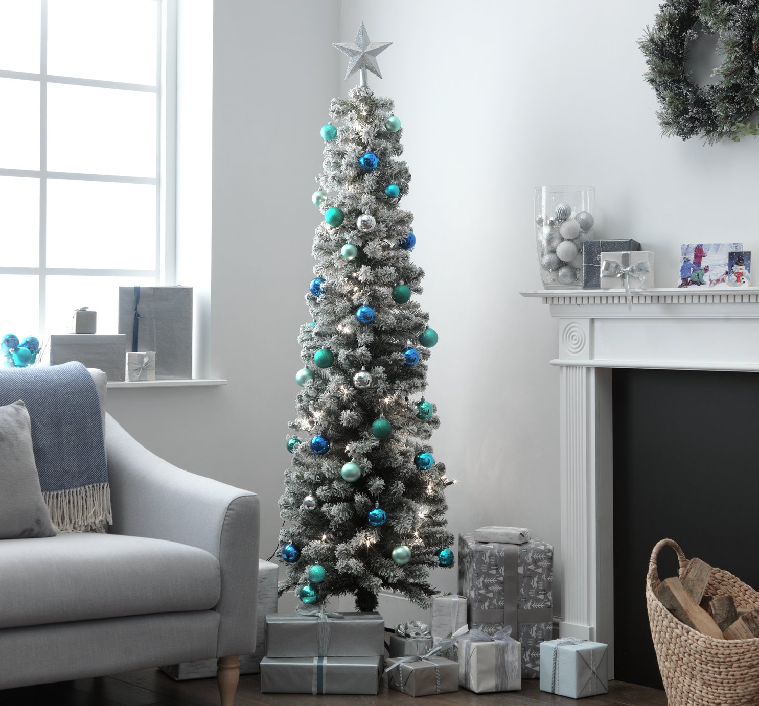 Green Snow Tipped Pencil Christmas Tree - 6ft