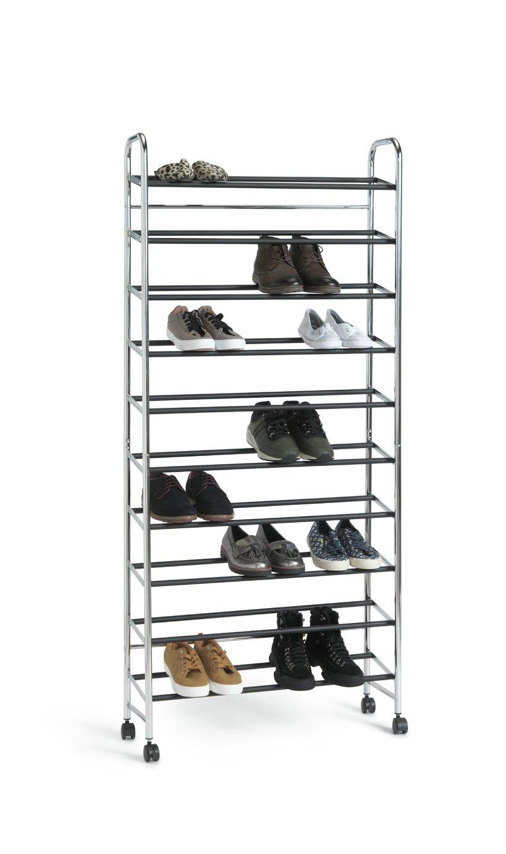 Argos Home 10 Shelf Rolling Shoe Storage Rack - Chrome