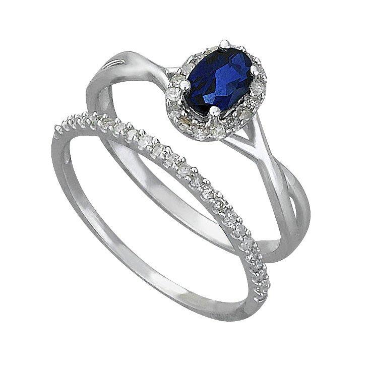 Buy 9ct White Gold 0 25ct tw Diamond & Sapphire Bridal Ring Set at