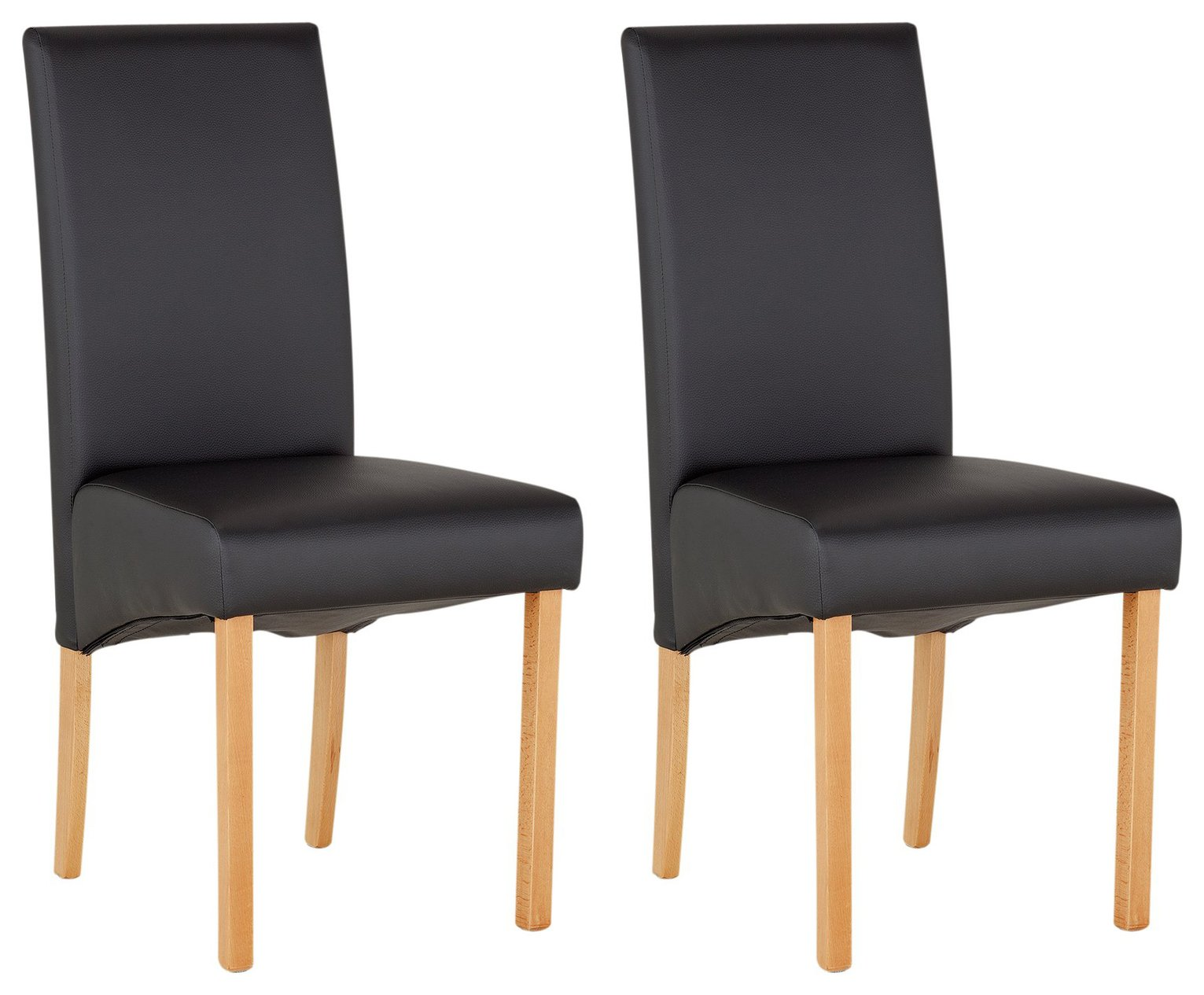 Collection Pair of Skirted Dining Chairs - Black
