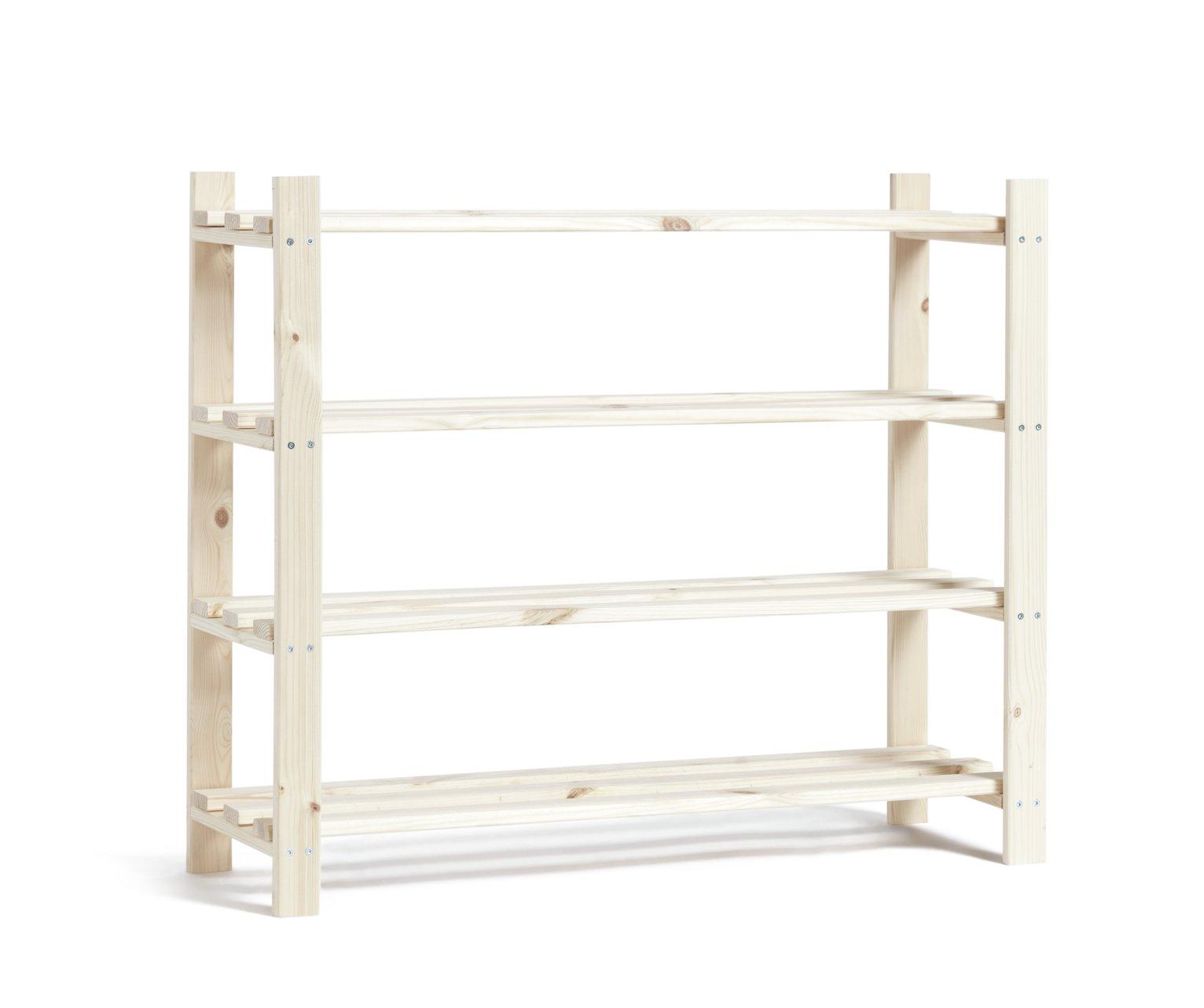 Argos Home 4 Shelf Shoe Storage Rack - Solid Unfinished Pine